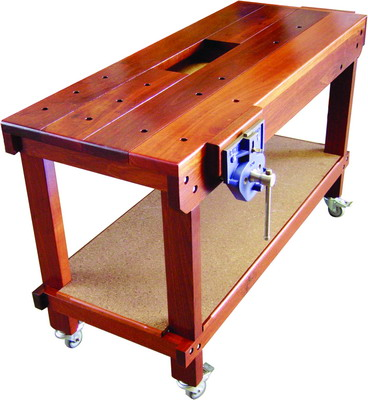 WOODWORKING MOBILE BENCH WITH WELL RECORD VICES