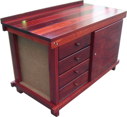 SMALL STORAGE BENCH WITH DRAWERS AND CABINET