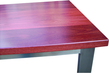 CLOSE UP JARRAH AND STAINLESS STEEL CATERING BENCH
