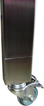 CLOSE UP STAINLESS STEEL CATERING BENCH LEGS