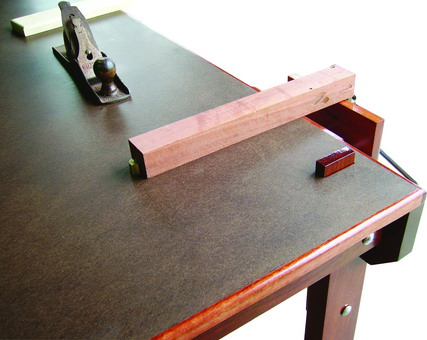 CLOSE UP OF A TEACHERS DEMONSTRATION WORKBENCH